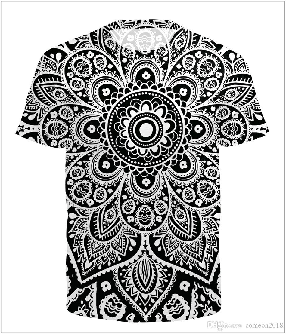 038ca3ca6962 2018 New Arrival Mandala White And Red Love Flower Digital Print T Shirt  Summer Cool T Shirt Tee Top Designer Clothes Round Neck Shirt Site Printing  Of T ...