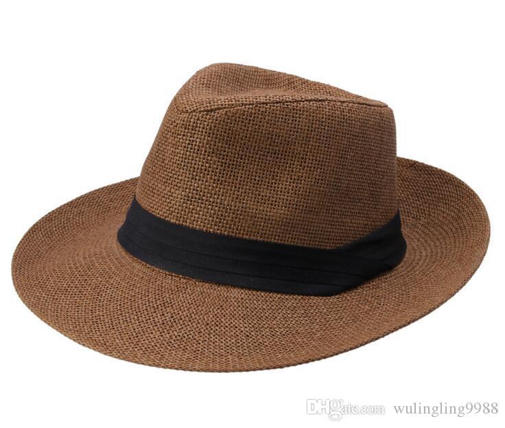 الأزياء واسعة القبعات المصنوعة من القش بريم، قبعة السيدات الشمس، الصيف قبعة من القش، والرجال والنساء كبيرة رعاة البقر قبعة الشاطئ 6 ألوان