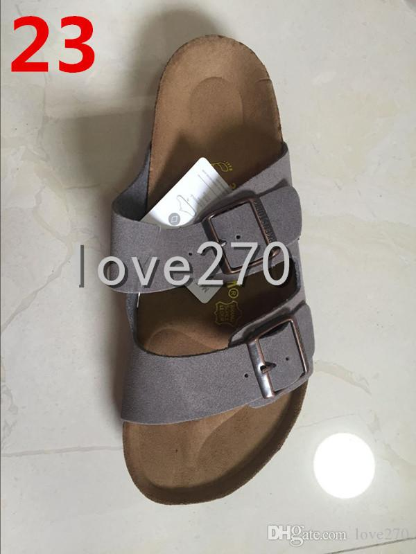 04880572b385 2018 Famous Brand Arizona Men S Flat Sandals Cheap Women Casual Shoes Male  Double Buckle Summer Beach Top Quality Genuine Leather Slippers Wide Calf  Boots ...