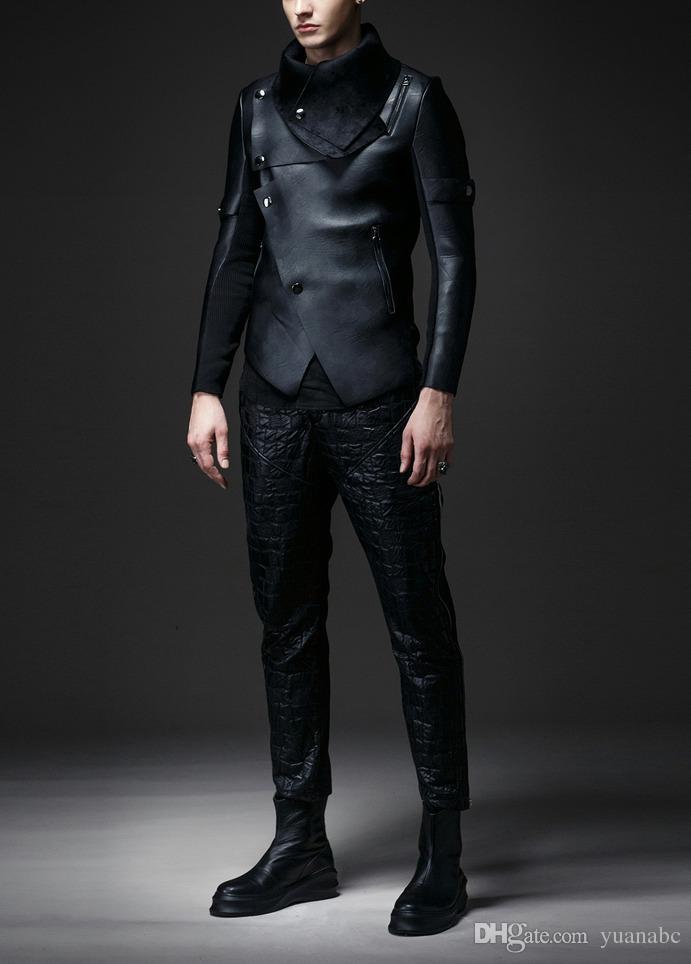 Nuovi uomini in pelle 2018 e tendenza invernale in velluto di giacca da motociclista irregolare Giacca da uomo in pelle sottile