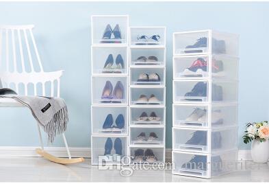 0ef60140b009fb Großhandel Stapelbar Transparente Kunststoff Schuhe Aufbewahrungsbox  Kreative Schublade Stil Staubdicht Weibliche Männliche Kinder Schuhe  Organizer Schuhe ...