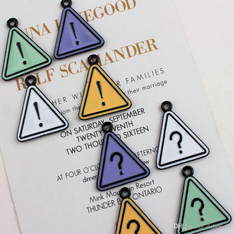 26*31mm Triangle Question mark charms fashion KC gold enamel alloy small bracelet exclamation mark pendant metal dangle diy jewelry making
