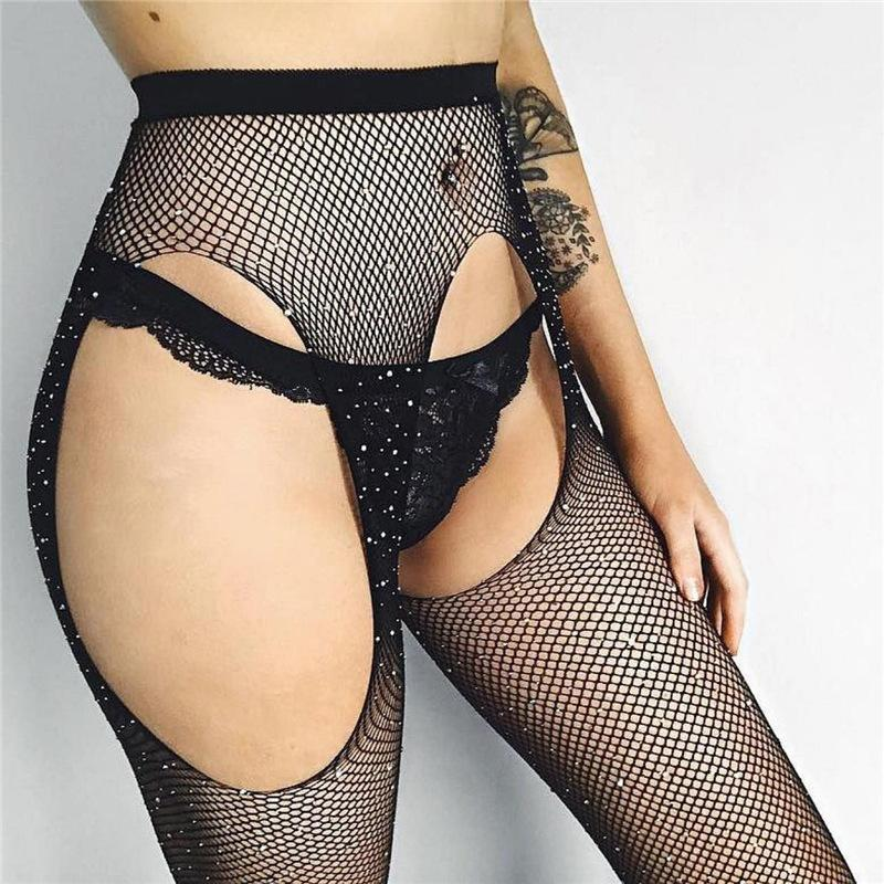 162c418bc063b Women's Crystal Rhinestone Stockings Hollow Out Fishnet Tights Pantyhose  Mesh Sexy Stockings Club Party Hosiery Female B02ST530