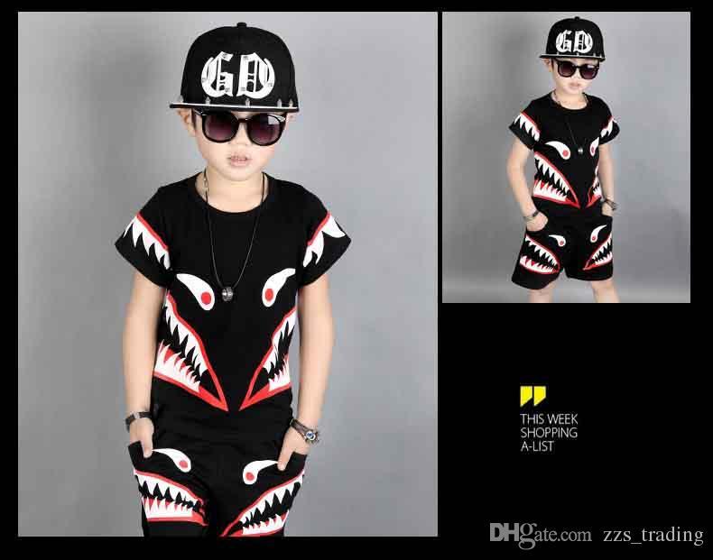 Newest Fashion Boys Outfit big Children Clothing Sets Summer T Shirts Tops + Harem Half Pants Set Suits For Boy Black
