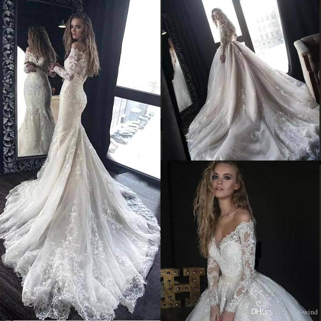 Traditional Wedding Gowns With Detachable Trains: Discount 2018 Gorgeous Full Lace Wedding Dresses With