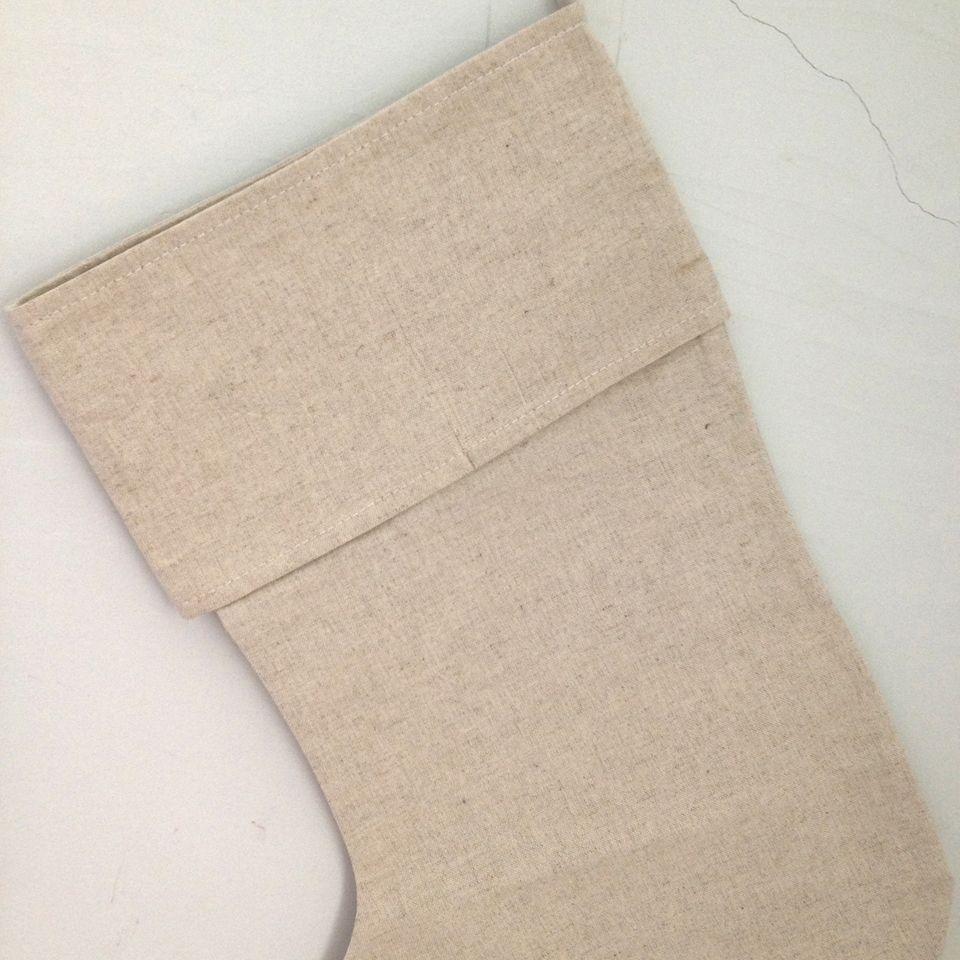 Doğal keten boş noel çorap çanta hediye için dekoratif Noel çorap çanta fabrikadan en iyi kalite dekoratif çorap çanta