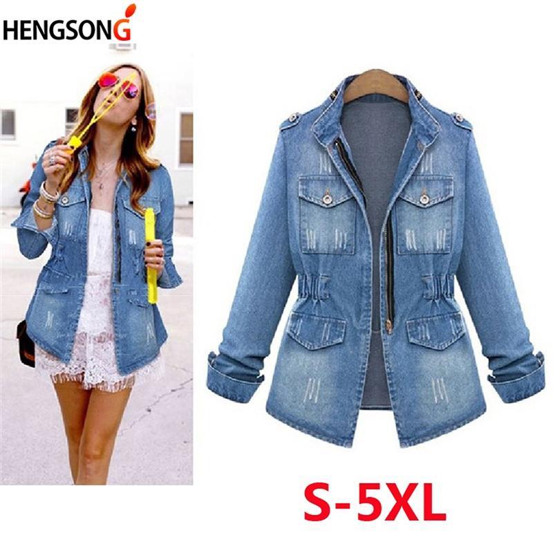 323d9360ce HENGSONG Plus Size 5XL Denim Jacket Women 2018 Autumn Fashion Long ...