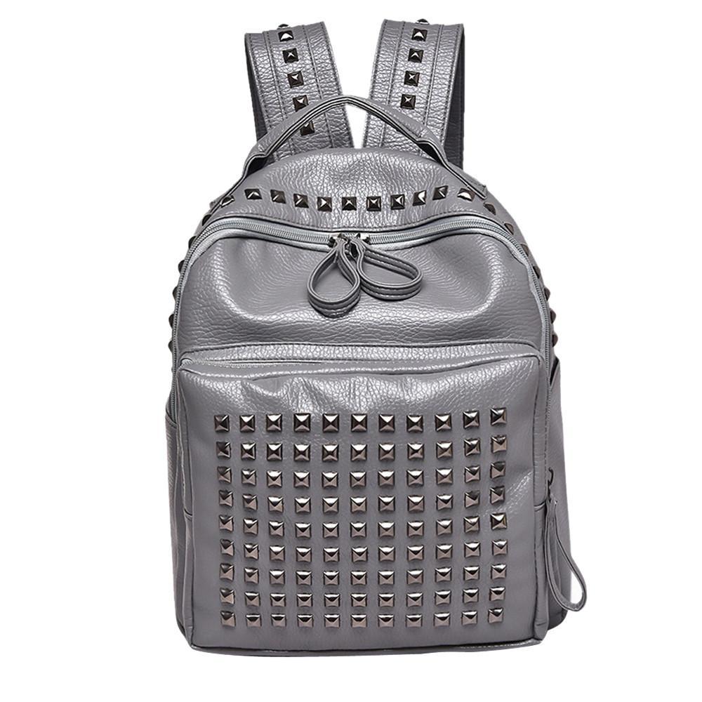 a1b0cf530ee Girl Rivet Leather School Bag Travel Backpack Satchel Women Shoulder  Rucksack Zipper Bag Backpack s mujer #75