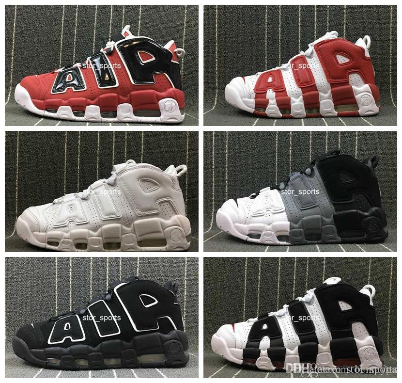 3854f6351f Compre 2018 Chaussures Nike Air More Uptempo Mujeres Zapatillas De  Baloncesto Para Hombre, Tri Color De Alta Calidad Scottie Pippen PE Triple  White Athletic ...