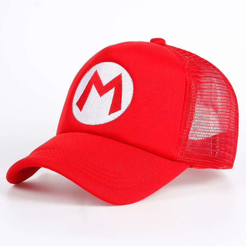 7a2348306f3b7 Compre Super Mario Bros Sombrero Marca De Dibujos Animados Gorra De Béisbol  Malla Rojo Mario Anime Cosplay Traje Sombrero Verano Hueso Letra Ajustable  M ...