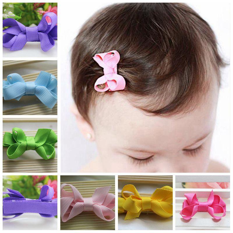800c9e8a3b745 Baby Hair Accessories Girls Hair Clips Small Ribbon Bow Hairpins ...