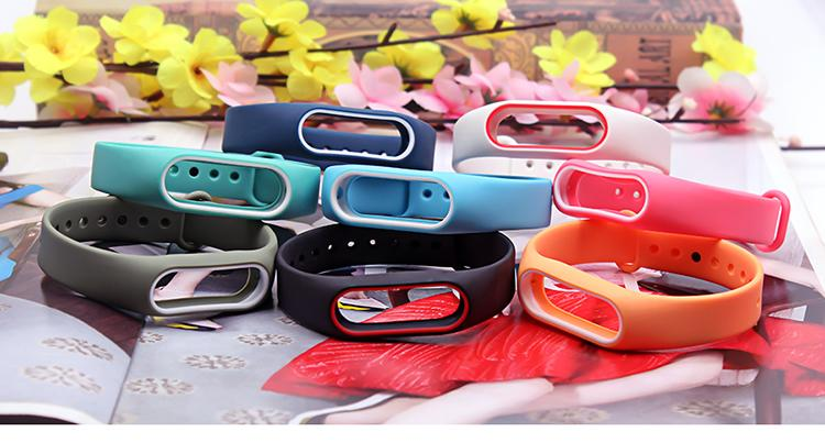 Dual Color Miband 2 strap Silicone healthy Pulsera Colorful Replacement wrist strap for xiaomi mi 2 smart band