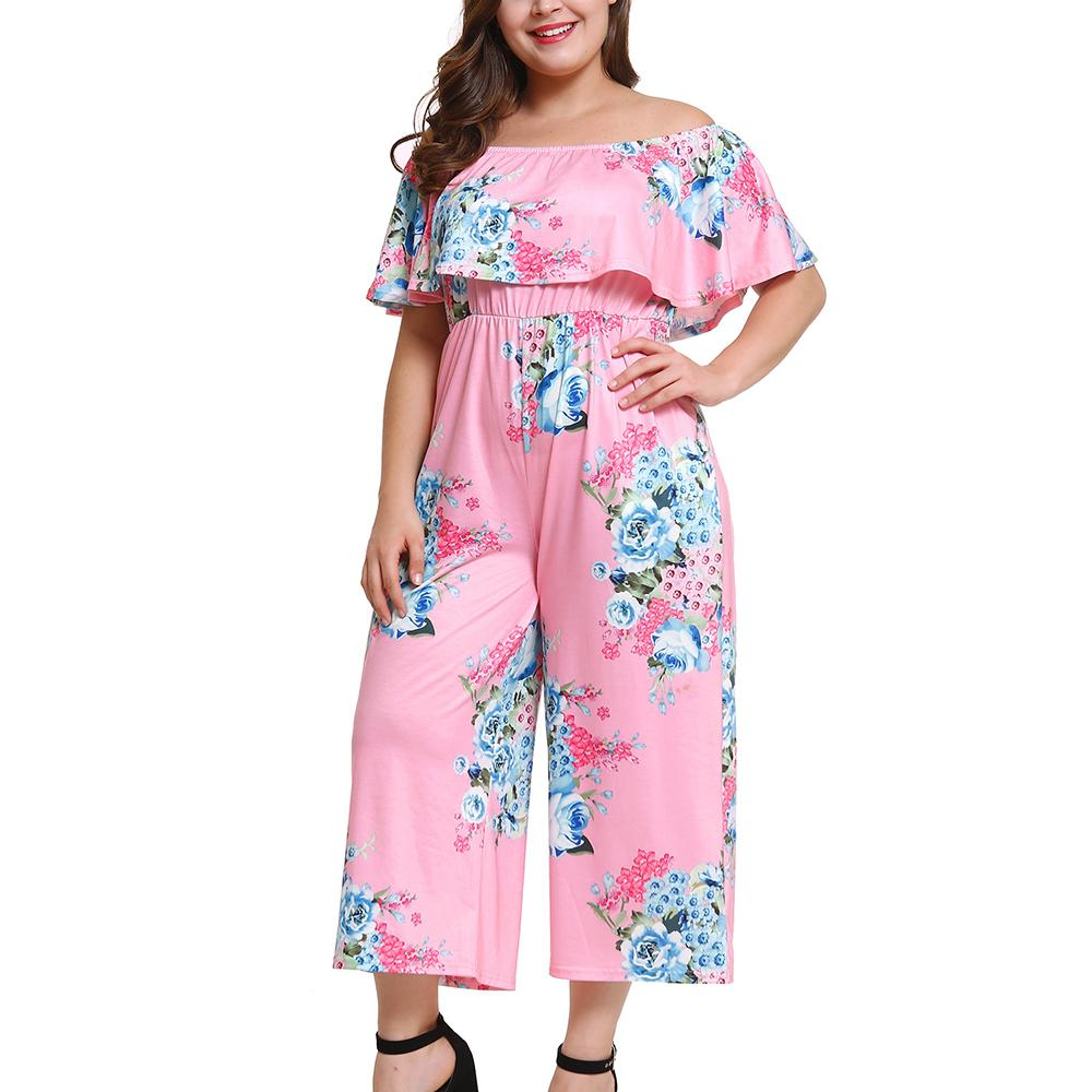23931c21048c 2019 Woman Plus Size Jumpsuits Big Size Slash Neck Off Shoulder Playsuit  Elegant High Waist Floral Printed Clothing Ruffles Bodysuits From  Layette66