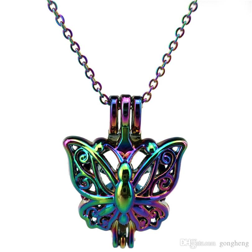 C701 COLORS Dream colorful butterfly spirit stainless steel chain- Luck Gift Essential Oils Diffuser