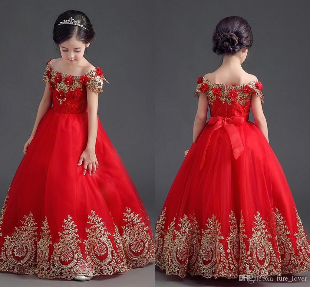 Acquista Vestiti Da Spettacolo Della Principessa Delle Ragazze Di Rosso  Elegante Fuori Dai Vestiti Di Spettacolo Dell abito Di Sfera Di Lunghezza Di  ... cf34f7864d5