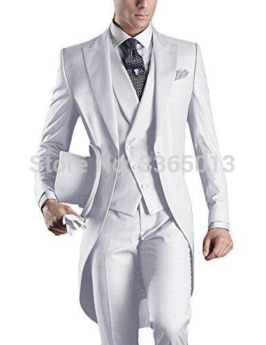 Compre Trajes De Boda Para Hombre Blanco Azul Negro Gris Traje Largo Hombres  2018 Último Abrigo Pantalón De Diseño Traje Homme Traje Formal De Novio ... 740772c2e6c7