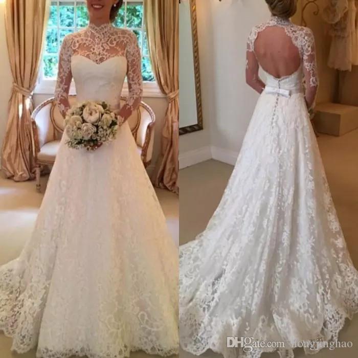 compre vestido de novia de encaje Árabe vintage 2018 una línea de