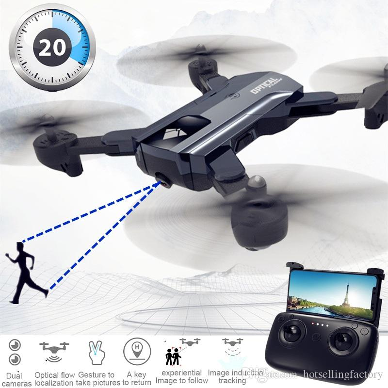 New Foldable Drone with HD Camera 20 Mins Long Endurance RC Racing Helicopter Follow Me FPV RC Quadcopter Dual Cameras Wifi RC Drone Toy