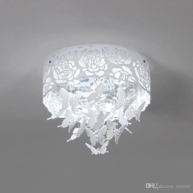 OOVOV White Rose Butterfly Crystal Ceiling Lamps، Round، LED، Hollow Out، Child Room Baby Room Bedroom Living Room Ceiling Light