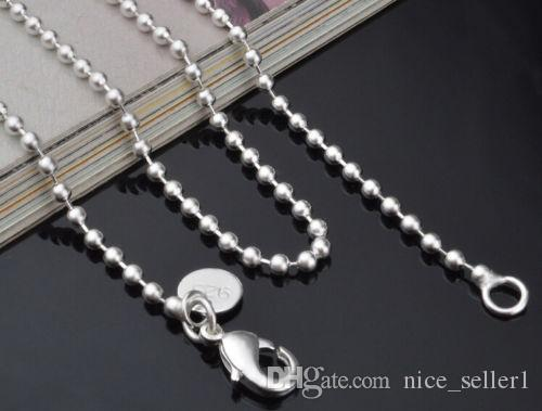 2018 Fashion Solid 925 Sterling Silver Chain 5Pcs 2MM Men Women Necklace 16 - 24inch XMAS New Classic Beads Necklace Chain Link Italy c002