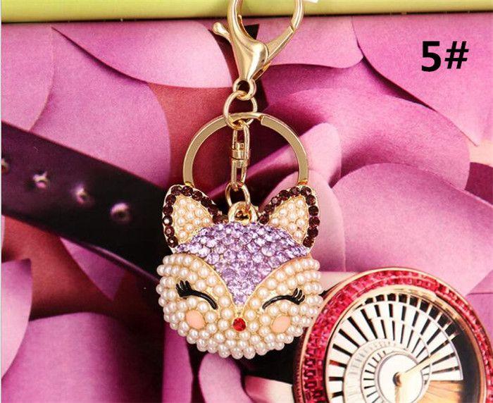 50 unids zorro artificial llavero para bolso del coche llavero lindo Fox Inlay simulado perla colgante llaveros R115