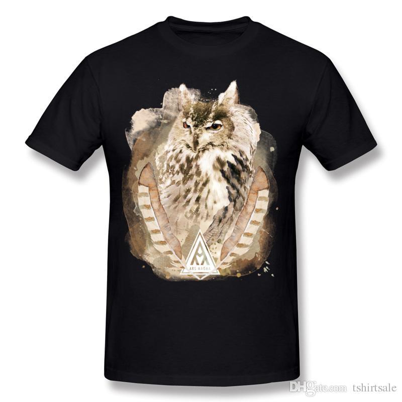 Mischungs-Auftragmann-Baumwollalte alte Eulen-T-Shirts Mann-Rundhalsausschnitt grünes kurzes Hülsen-T-Shirt plus Größe gedruckt auf T-Shirts
