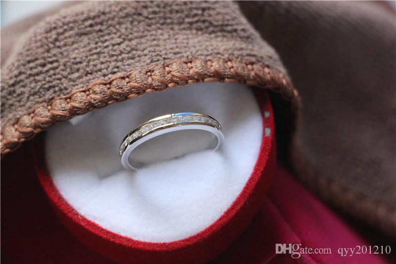 Brand Custom Small Princess Stones Semi Mount Sterling Silver Jewelry Synthetic Diamonds Female S925 Band Engagement Ring White Gold Color