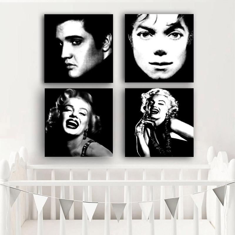 2019 Black And White Monroe Marilyn Michael Jackson Posters And Prints Minimalist  Polka Dot Canvas Art Wall Picture For Living Room From Aliceer, ...
