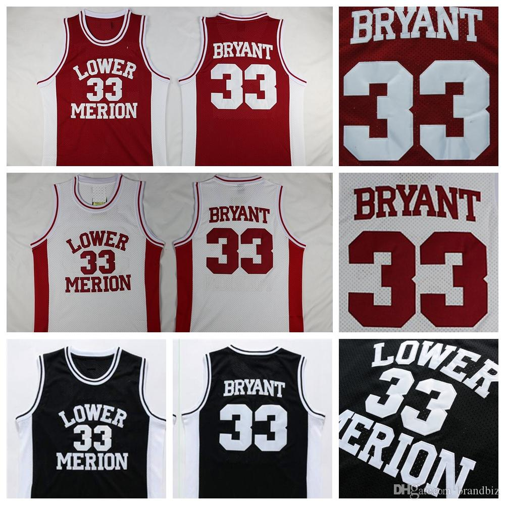91965896d62 2019 Top Quality 33 Kobe Bryant Jersey Lower Merion High School Basketball  Jersey 33 Team Red White Black Kobe Bryant Basketball Jersey Stitched From  ...