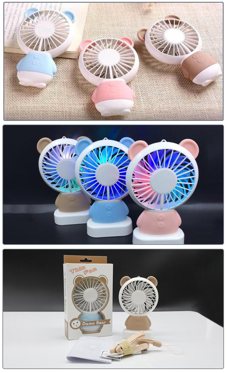 LED USB Fan 2-Speed Adjustable Portable Mini Fan Hand Fans 800mAh Rechargeable Ultra-quiet Micro USB Desk Air Cooling Fans