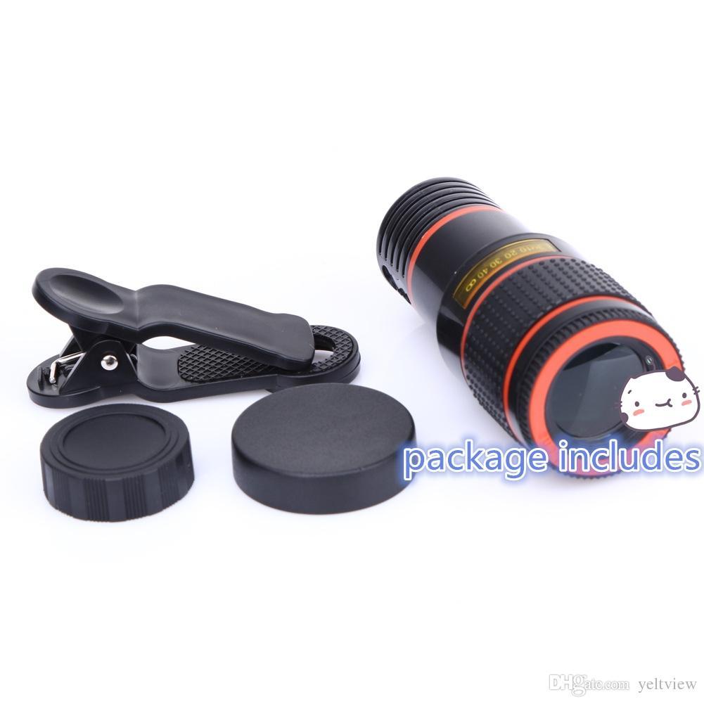 сотовый телефон телескоп объектив 8x зум универсальная оптическая камера путешествия телеобъектив с зажимом комплект для Iphone Samsung HTC Sony LG Android