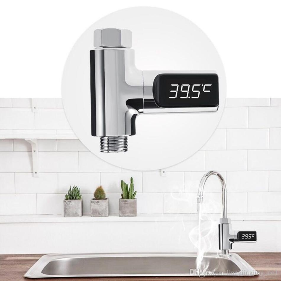 LED Termómetro de Ducha Digital Medición de Agua Temperatura Giratorio Autoalimentado Termómetro de Agua Saludable Monitor de Herramientas Domésticas OOA4507