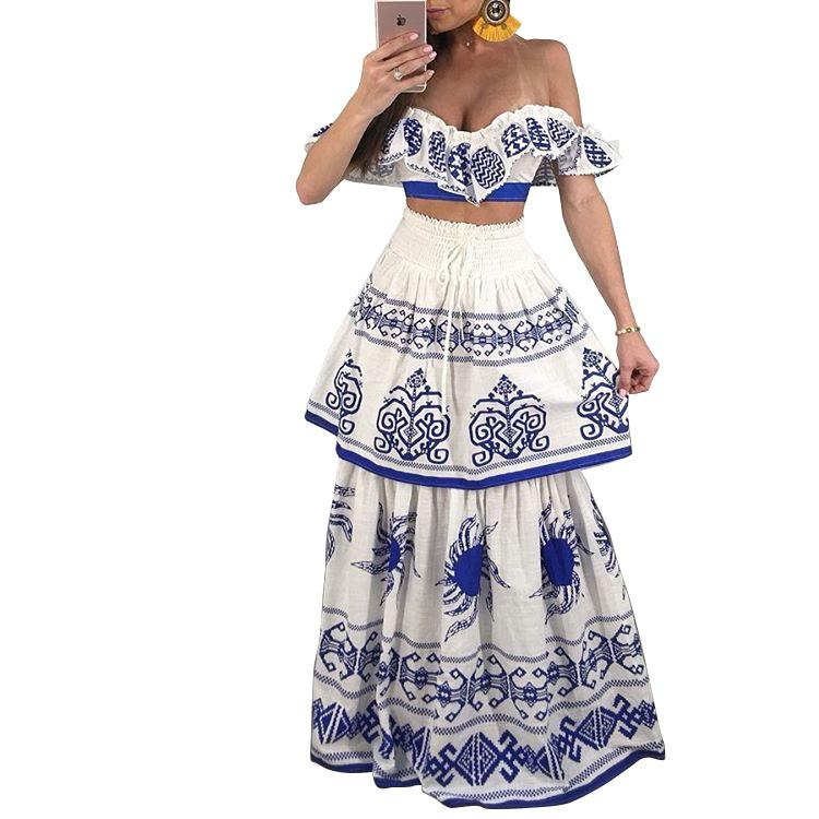 1d34da55bdf 2019 New Style Two Piece Crop Top And Skirt Set Vintage Print Sexy Women  Outfit Set Maxi L0202 From Maoku