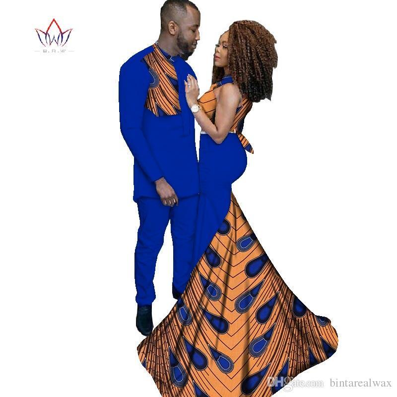Compre 2018 Moda Africana Ropa Vestidos Para Las Mujeres Ankara Estilo  Batik Prints Hombres Traje Señora Sexy Vestido Parejas Ropa WYQ52 A  134.57  Del ... 6d0ead08fbb8