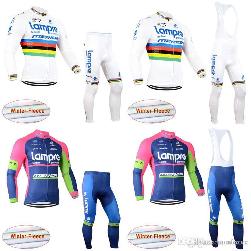 17565a549 LAMPRE Team Cycling Winter Thermal Fleece Jersey Bib Pants Sets Bike  Clothing Kit Super Warm Bicycle Clothes Bib Pants Set D0204 LAMPRE Cycling  Jersey Men ...