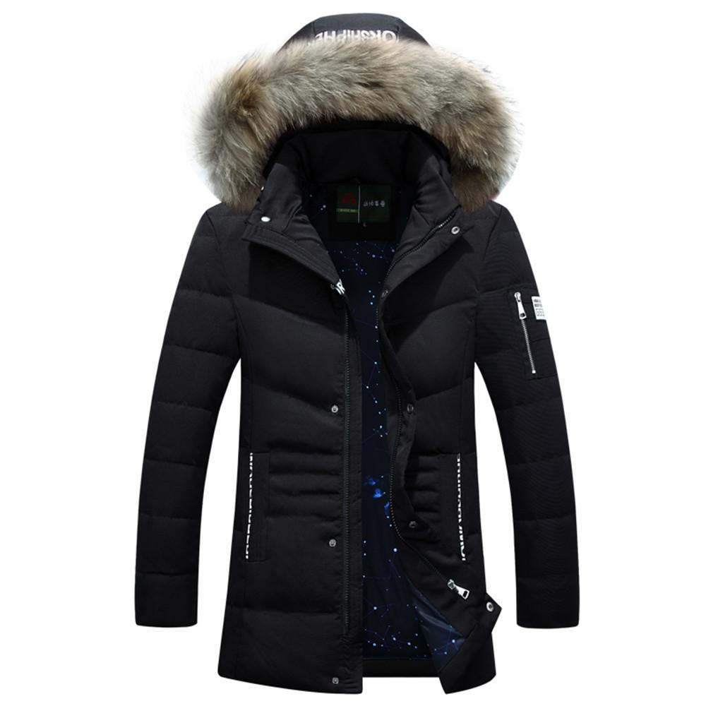 Großhandel 2018 Herren Mantel Dicke Warme Winter Outwear Hohe Qualität  Stilvolle Männliche Parka Slim Fit Kappe Abnehmbare Fell Kapuze Gepolsterte  Lange ... 77a1c87fe5