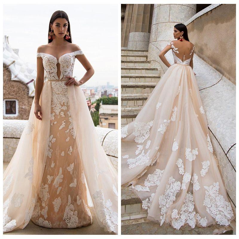 2018 Vogue Lace Appliques Milla Nova Champagne Wedding Dresses Full ...