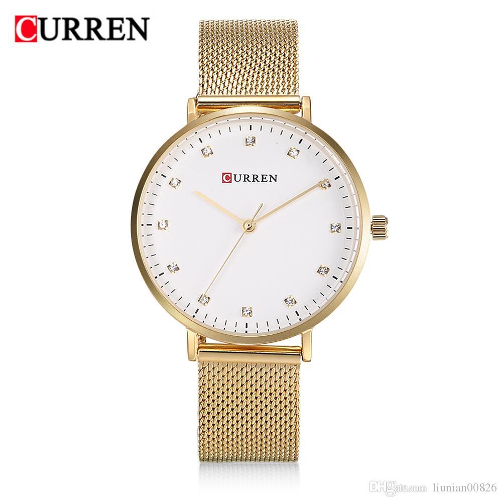 41b134ab04ec Compre Envío De La Gota Relojes Curren Mujeres Oro Rosa Pulsera De Malla De  Acero Inoxidable Reloj Para Mujer Cristal Brillante Elegent Reloj De  Pulsera De ...