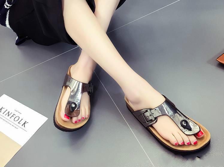 1eabe64bb19ea Lady Cork Flip Flops Sequins Slippers Beach Women Sole Slipplaers Outdoor Slipper  Sandals Vogue Cool Beach Shoes Slipper Suede Boots Black Boots For Women ...