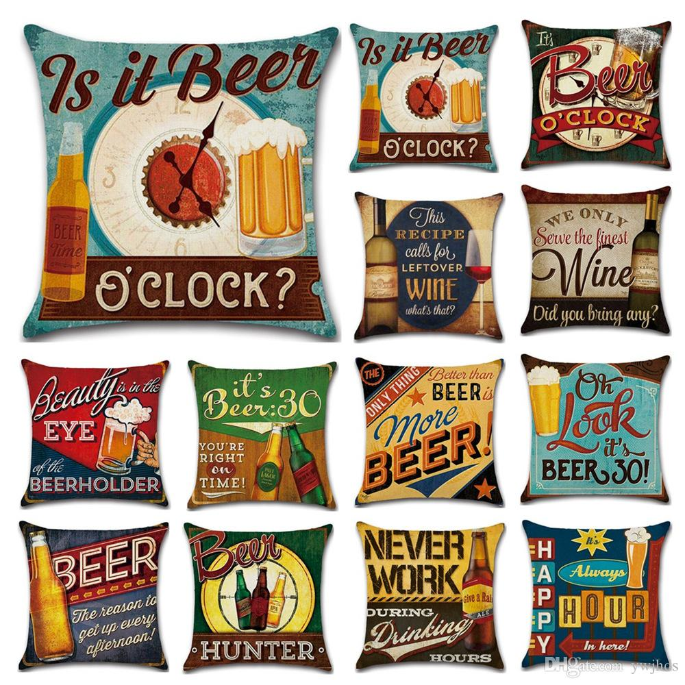 Vintage English Beer Bottle Linen Pillow Case Luxury Home Decor Sofa Cover Decorative Throw Pillows Cushions For Lounge Chairs