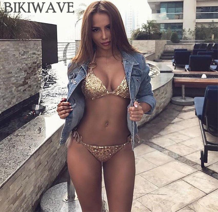 2018 Bikini sexy con paillettes donne dorate fasciatura bikini set push-up imbottito con spalline costume da bagno backless brazillian estate costumi da bagno