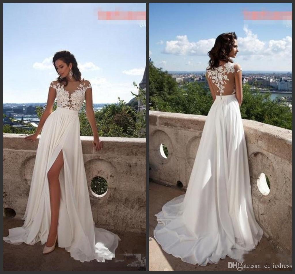 3444a976be6 Discount 2018 New Elegant A Line Lace Chiffon Beach Wedding Dresses  Illusion Bodice Front Split Cheap Plus Size Bridal Wedding Gowns Custom  Made Wedding ...