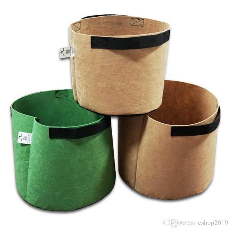 Pots de fleurs en tissu non tissé vert marron avec poignées sac pour les  graines de plus en plus grandir la tente de jardin décor de jardin fées ...
