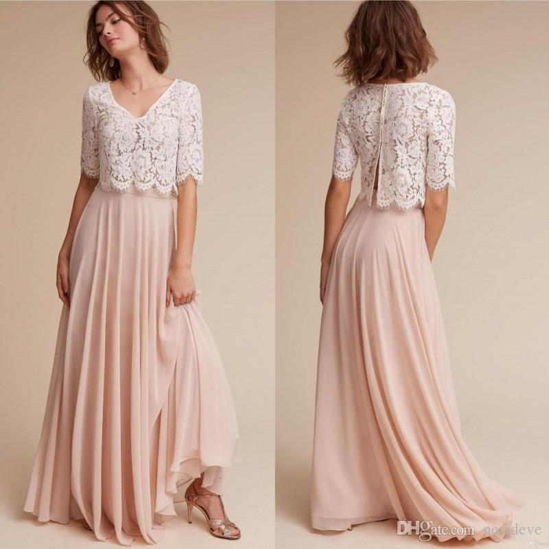Bhldn Two Pieces Plus Size Bridesmaid Dresses Blush Maid Of Honor