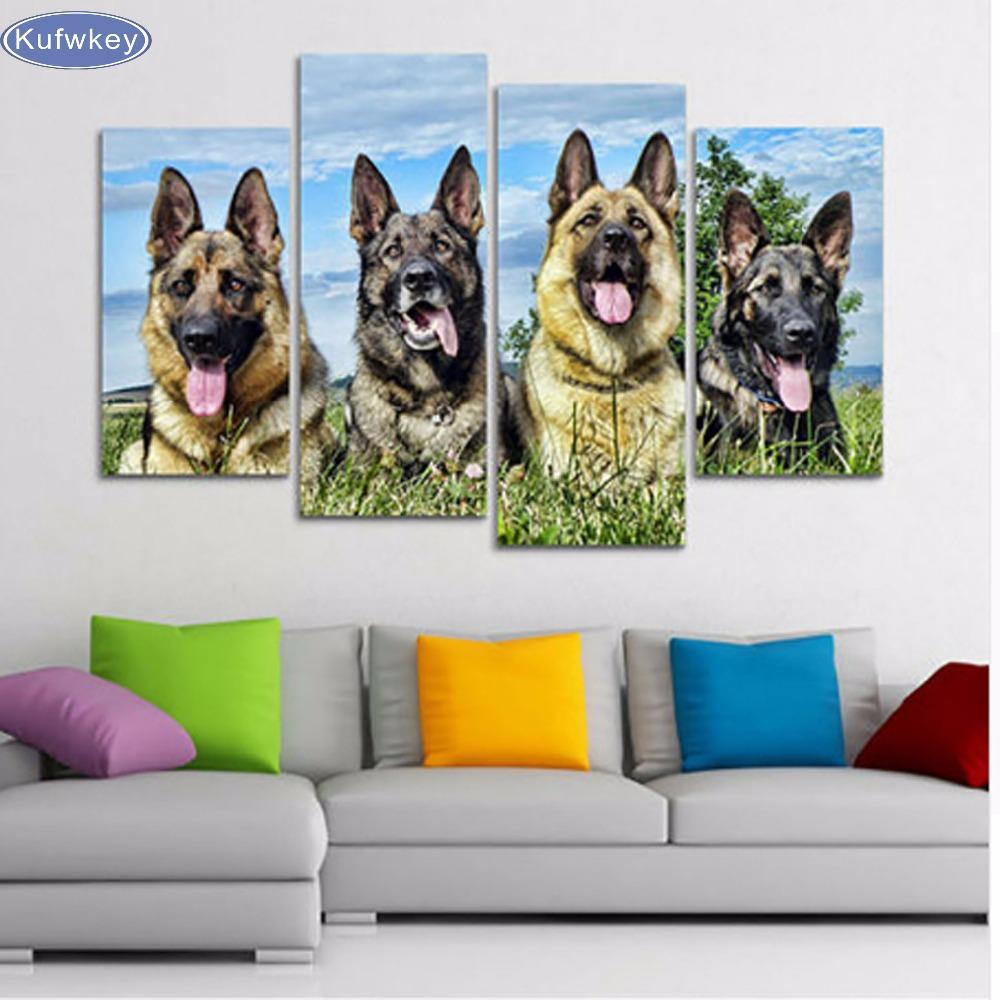 2018 Full Square 5d Diy Diamond Painting Animal, Dog Wall Picture ...