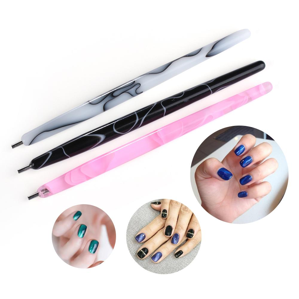1PC 3D Magnetic Pen Nail Dotting Pen Magic Cat Eye Effect Marble Handle for UV Gel Polish DIY Painting Craft DIY Manicure Tool