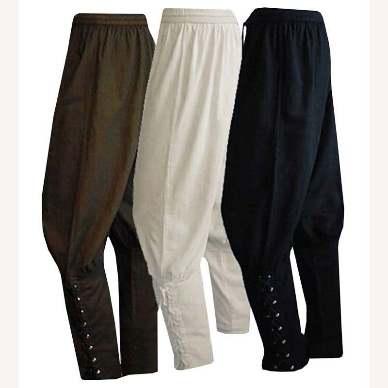 ad073cc6cf408 Compre NUEVOS Hombres Adultos Renacimiento Medieval Salón Disfraz De Jinete  Pirata Pantalones Sueltos Viking Negro Marrón Navigator Vendaje De Piernas  ...