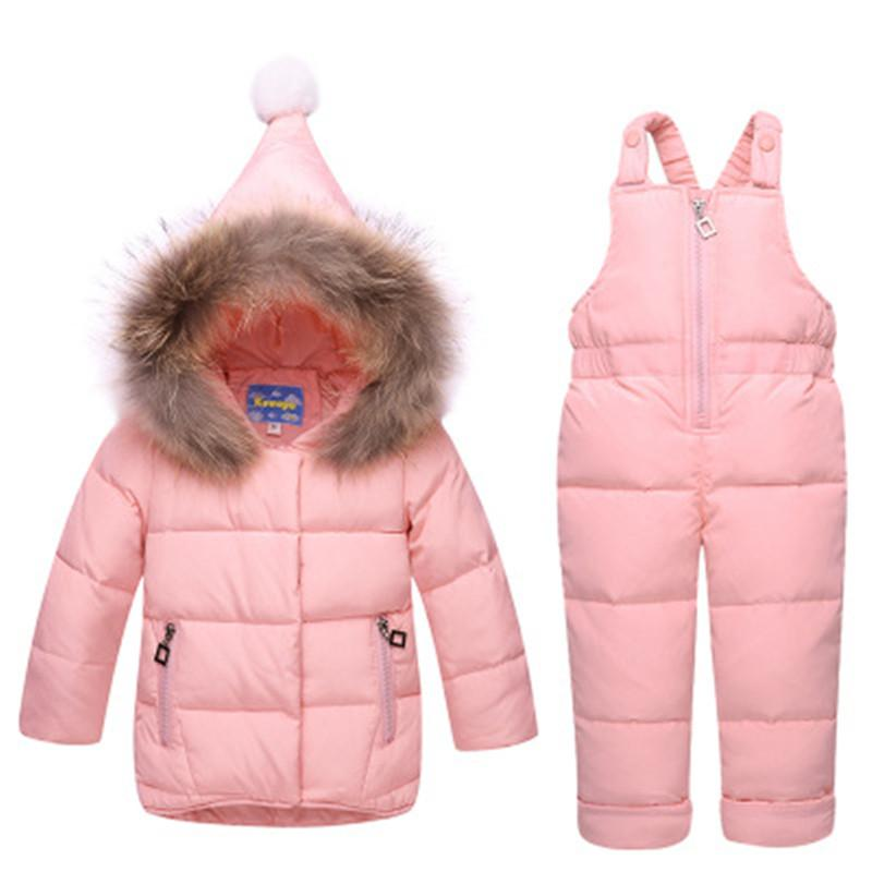 a0b5c7037 Russian Children Winter Down Jacket Coats + Jumpsuit Set Girls ...