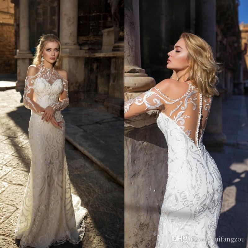 f4912bc0c213 2018 Newest Louise Sposa Mermaid Wedding Dresses High Quality Lace Applique  Jewel Neck Long Sleeve Wedding Dress Bridal Gowns Custom Made Mermaid  Dresses ...
