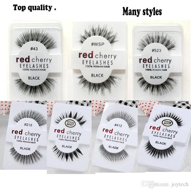 13 estilos CEREZA ROJA Pestañas Falsas Extensión Larga de Pestañas Naturales Maquillaje Profesional grado superior de fibra de Pestañas envío gratis